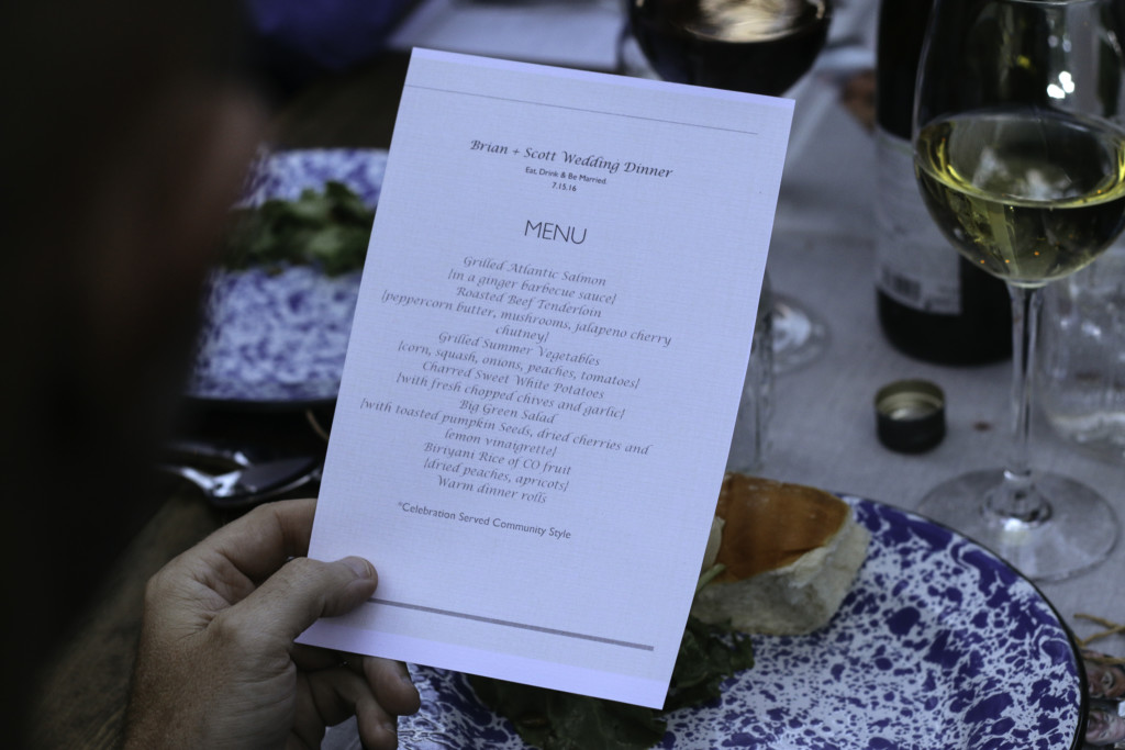 Wedding Menu Phreckles